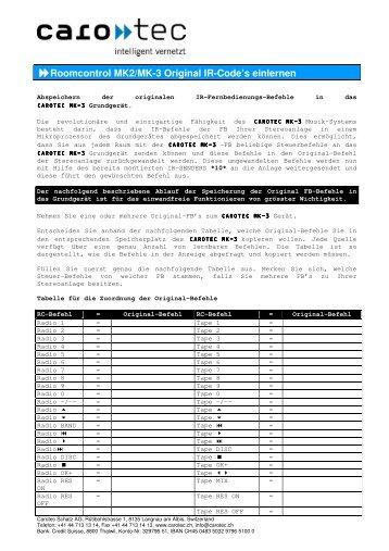 Roomcontrol MK2/MK-3 Original IR-Code's einlernen - Carotec