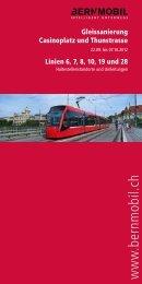 Broschüre Gleissanierung Casinoplatz/Thunstrasse, 22.9. - Bernmobil
