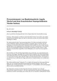 Pressestatements von Bundeskanzlerin Angela Merkel ... - EurActiv.de