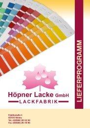 Das komplette Sortiment zum download - Höpner Lacke GmbH