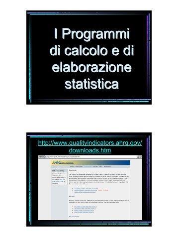 I Programmi di calcolo e di elaborazione statistica - Age.Na.S.