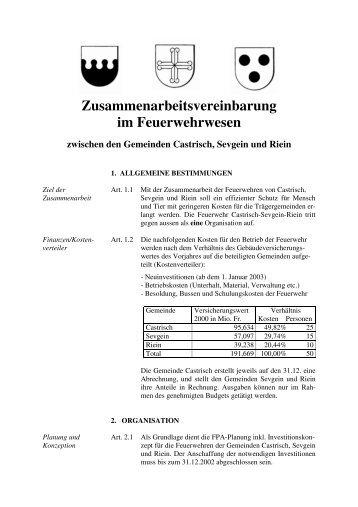 Zusammenarbeitsvereinbarung im Feuerwehrwesen - Castrisch