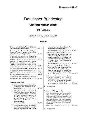 Stenographischer Bericht 149. Sitzung - Deutscher Bundestag
