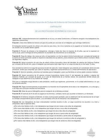 Condiciones Generales de Trabajo del Gobierno del Distrito Federal ...