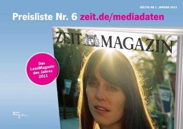 ZEIT MAGAZIN Preisliste 2012 - Die Zeit
