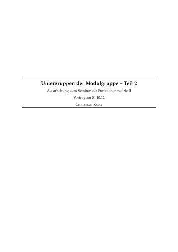 Untergruppen der Modulgruppe – Teil 2