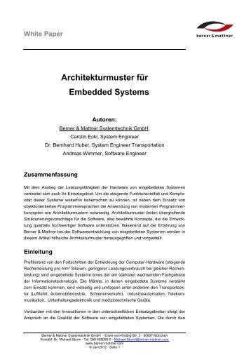 """Architekturmuster für Embedded Systems"" (pdf) - Berner & Mattner"