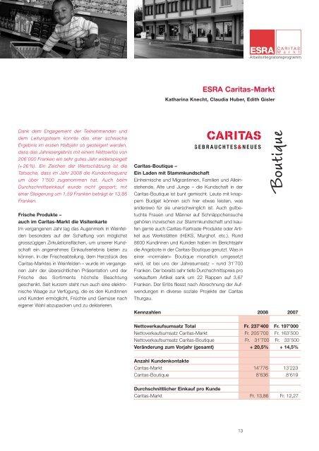 Jahresbericht 2008 ESRA Arbeitsintegration - Caritas Thurgau