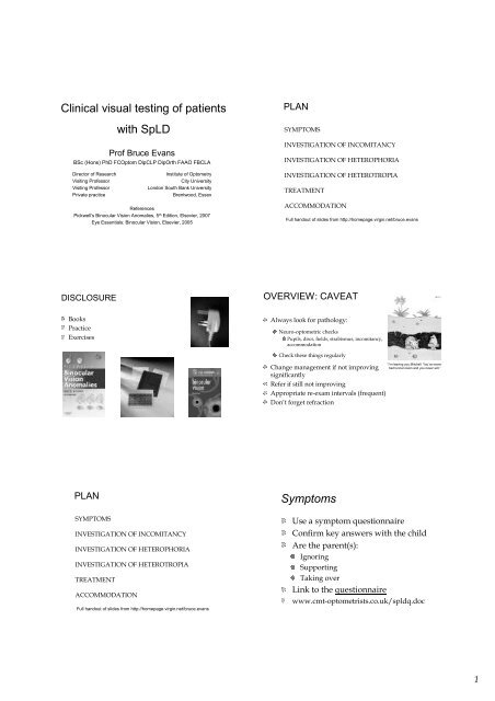 Optometrist track - clinical testing afternoon lecture pdf
