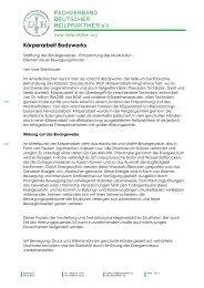 Körperarbeit Bodyworks - Fachverband Deutscher Heilpraktiker e.V.