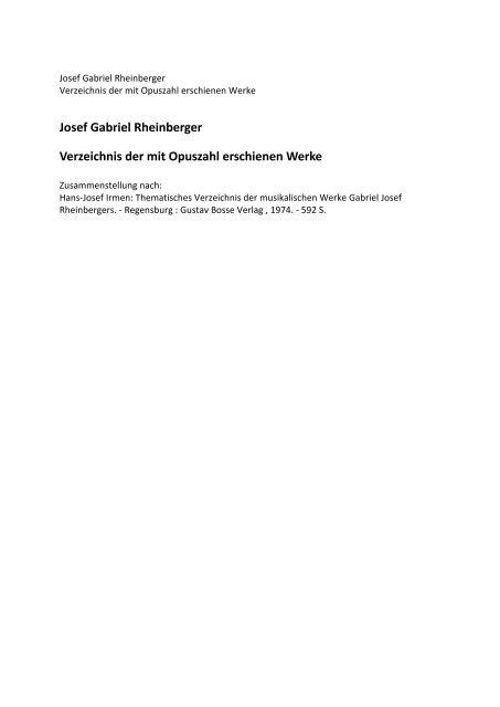 Josef Gabriel Rheinberger Verzeichnis der mit Opuszahl erschienen ...