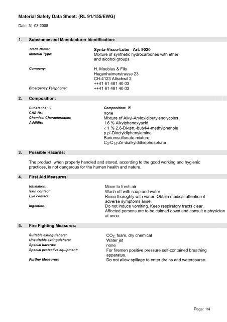 Material Safety Data Sheet: (RL 91/155/EWG)