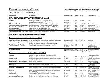 Erläuterungen zu den Veranstaltungen - Ernst-Reuter-Schule 1