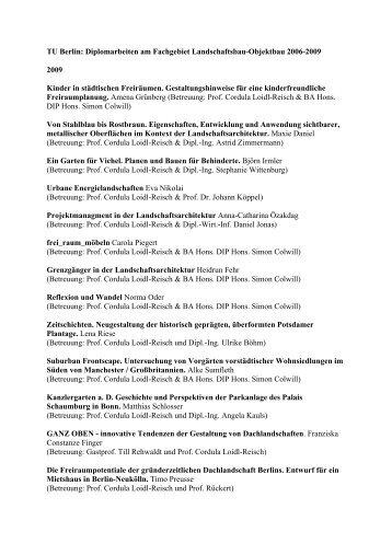 (2006-2009 (PDF, 15,8 KB) - Fakultät VI Planen Bauen Umwelt