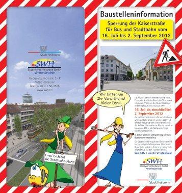 Infoflyer Sperrung Kaiserstraße - Stadt Heilbronn