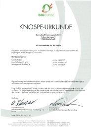 KNOSPE-URKUNDE - Bischofszell Nahrungsmittel