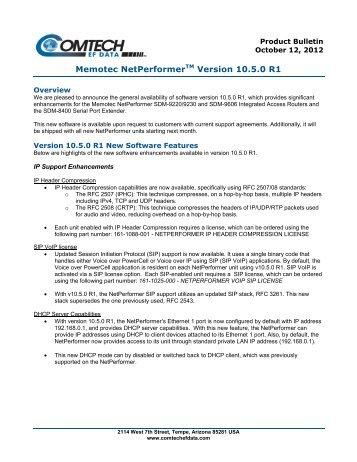 Memotec NetPerformerTM Version 10.5.0 R1 - Comtech EF Data