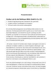 Großes Lob für die Raiffeisen Mölln GmbH - AGRAVIS Raiffeisen AG
