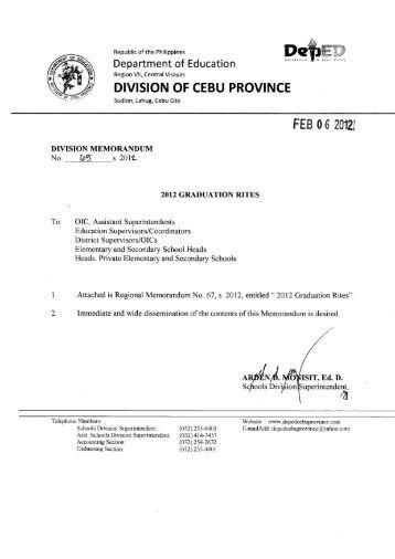 Memo No. 65, S. 2012 - DepEd Cebu Province