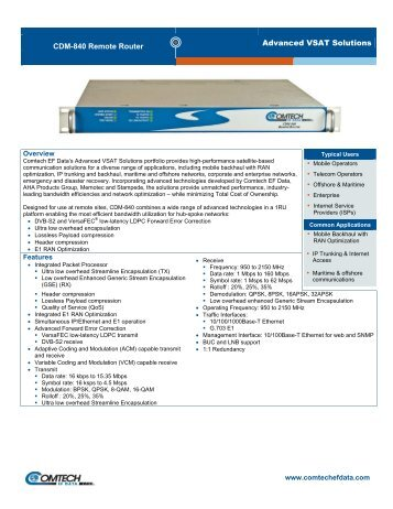 CDM-840 Remote Router - Comtech EF Data