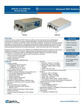 Advanced VSAT Solutions ODM-840 and ODMR ... - Comtech EF Data