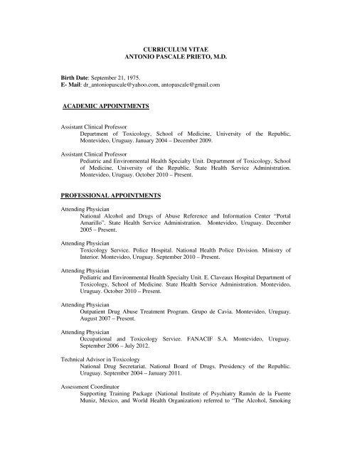 Curriculum Vitae Antonio Pascale Prieto Md National Hispanic