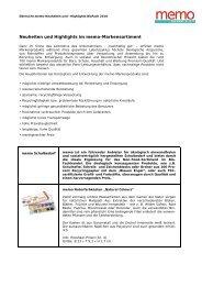 Neuheiten und Highlights im memo-Markensortiment - memoWorld