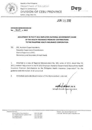 Memo No. 260, S. 2012 - DepEd Cebu Province
