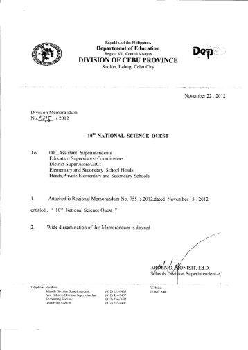 Memo No.595, S. 2012 - DepEd Cebu Province