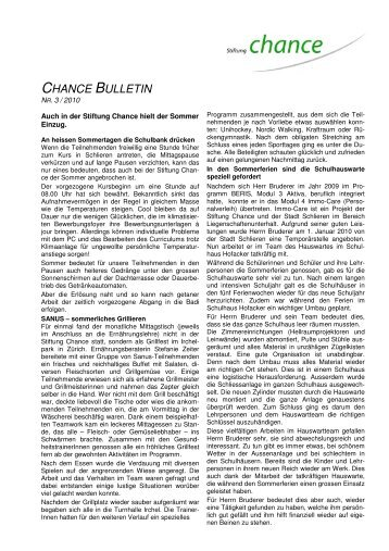 CHANCE BULLETIN - Stiftung Chance