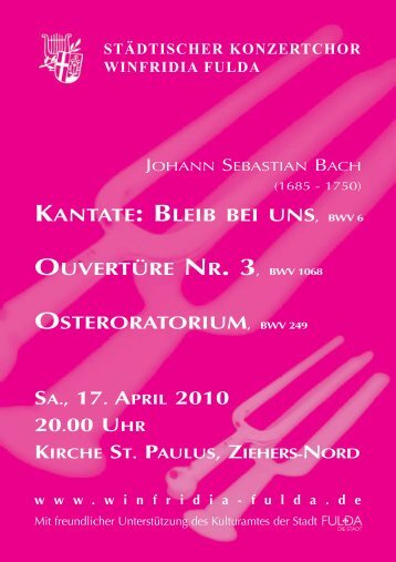 20.00 Uhr - Städtischer Konzertchor Winfridia Fulda
