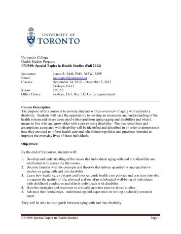 Special Topics in Health Studies - University College - University of ...