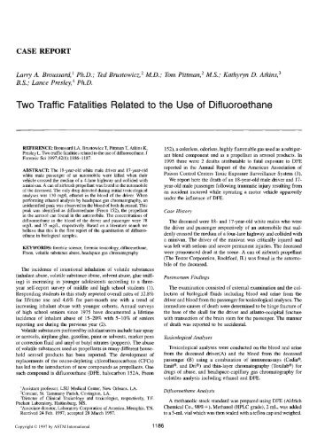 Two traffic fatalities related to the use of difluoroethane - Library