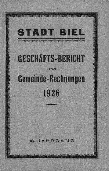 Geschäftsbericht der Stadtverwaltung Biel 1926 - Stadt Biel