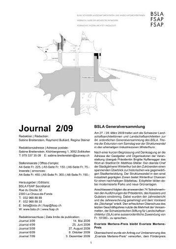 Journal 2/09 - BSLA