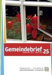 Gemeindebrief 19 Gemeindebrief25 - Evangelisch-Lutherische ...