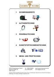 Katalog Bereich 1 - HOGA Schweisstechnik GmbH