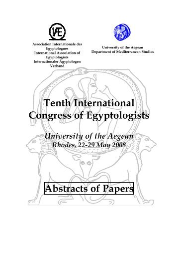 Tenth International Congress of Egyptologists Abstracts of Papers