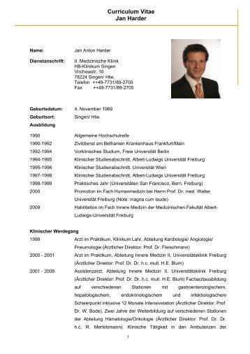 Lebenslauf Prof Dr Med Jan Harder Hbh Kliniken
