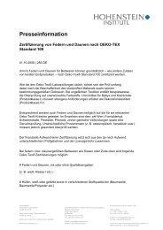 Zertifizierung von Federn und Daunen nach OEKO-TEX Standard 100