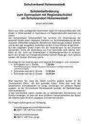 Schulverband Hohenwestedt Schülerbeförderung zum Gymnasium mit
