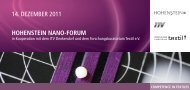 14. Dezember 2011 HoHenstein nano-Forum - Hohenstein Institute