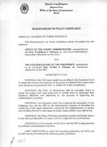 IBP-OCA Memorandum on Policy Guidelines - Integrated Bar of the ...