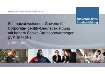 Schmutzabweisend CI - Hohenstein Institute