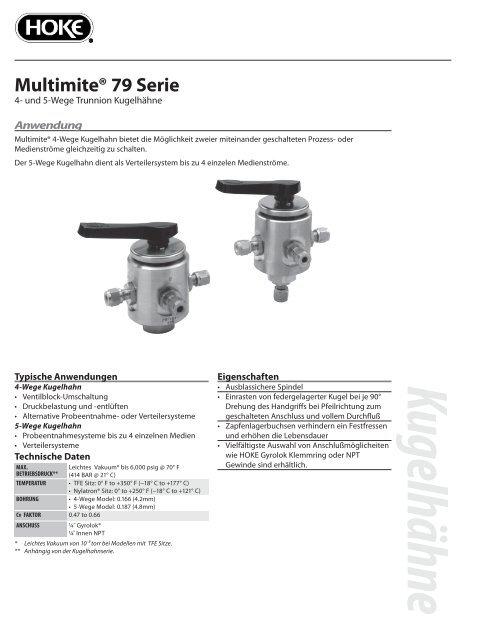 """Serie 79 """"Multimite"""" 4- und  5-Wege Kugelhahn"""