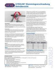 GYROLOK® Klemmringverschraubung Rohrübersicht - Pneumatech
