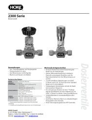Dosierventile 2300 Serie - bei Hoke GmbH