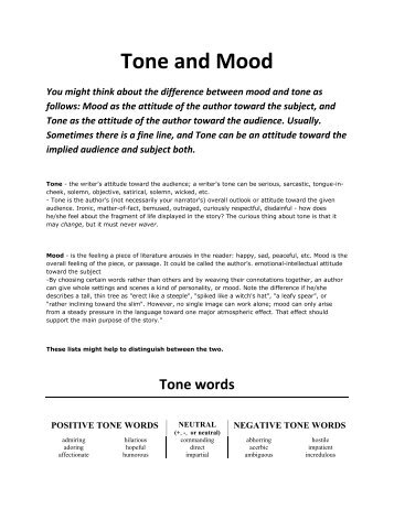 tone and mood of a story