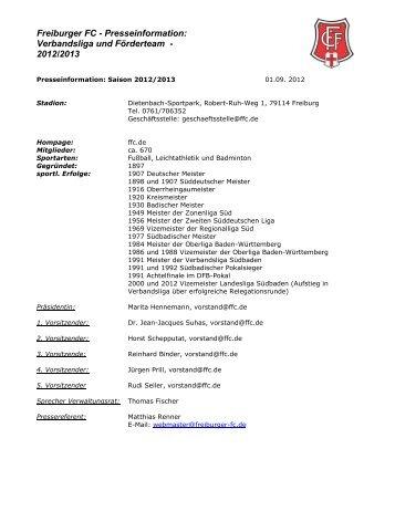 Freiburger FC - Presseinformation: 1994/95