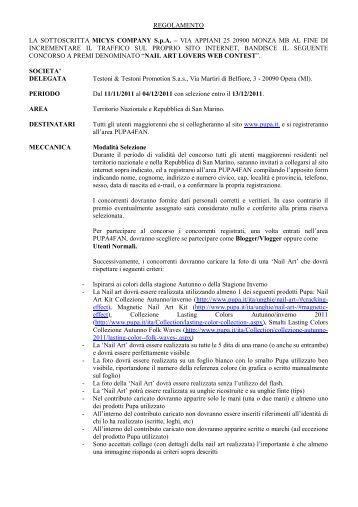 Leggi il regolamento - PUPA Milano